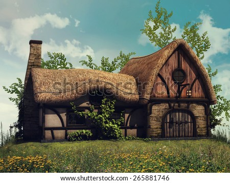 Sunny landscape with a fairytale cottage on a hill with yellow flowers and vines - stock photo