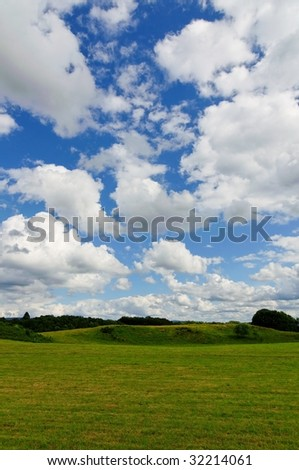sunny landscape with clouds