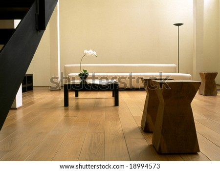sunny living room in oriental style - stock photo