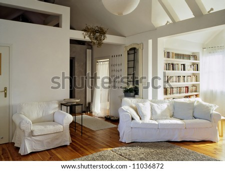 sunny living room in the loft - stock photo