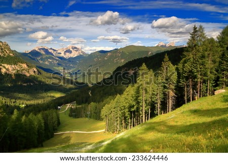 Sunny meadows and forests on the slopes of Catinaccio massif, Dolomite Alps, Italy - stock photo