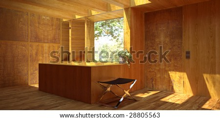 Sunny modern interior with wood paneling (3D render) - stock photo