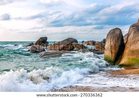 Sunny morning on the beach of Lamai.Samui Island. Thailand. - stock photo