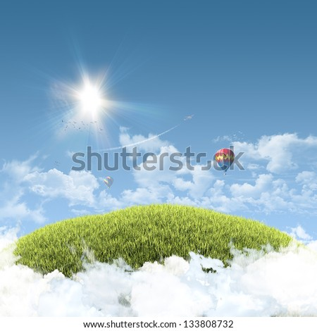 Sunny natural summer background with grassy hill above clouds and clear blue sky, balloons and aeroplane - great copy-space for posters, cards or banners - stock photo