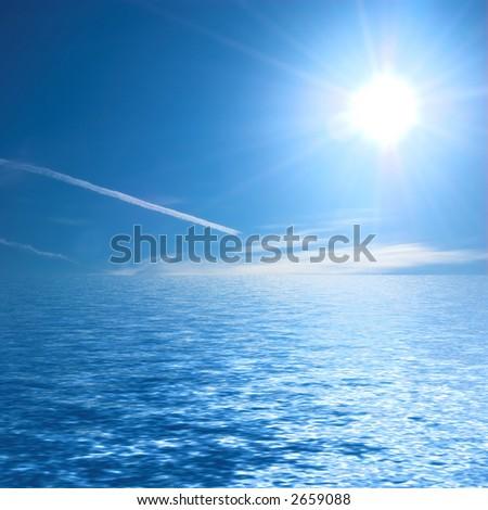 Sunny ocean - stock photo