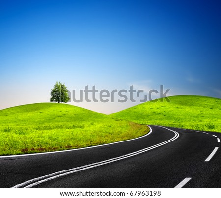 Sunny road - stock photo