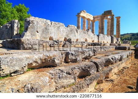 Sunny ruins of the ancient sanctuary of Zeus from Nemea, Greece