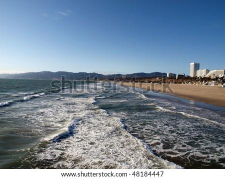 Sunny Santa Monica beach front in Southern California. - stock photo