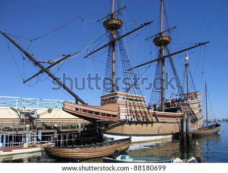 """sunny scenery showing a sailing ship named """"Mayflower II"""" while anchoring in Plymouth (USA) - stock photo"""