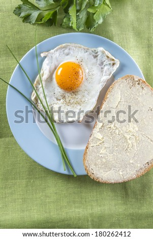 Sunny side up fried egg with bread on a blue framed plate - stock photo