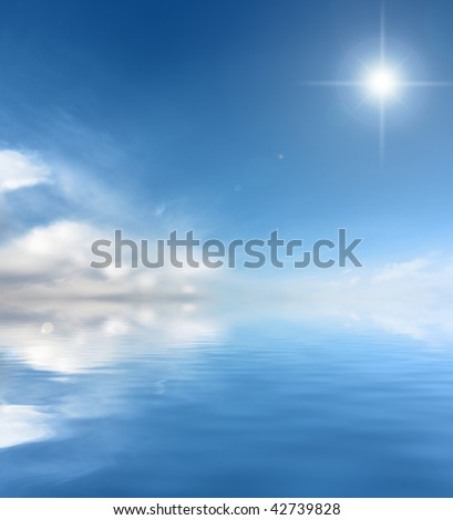 Sunny sky and blue, peaceful water background