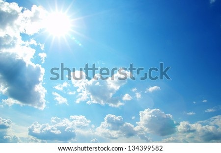 sunny sky background with a tiny clouds - stock photo
