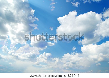 sunny sky background with tiny clouds - stock photo