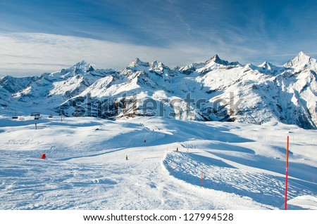 Sunny slope in swiss Alps