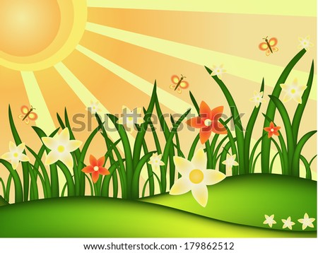 sunny spring meadow vector illustration - stock photo