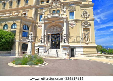 Sunny square in front of the building of Monte Carlo Casino, Monaco