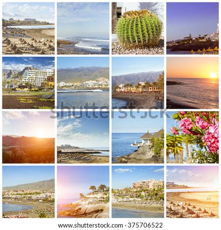Sunny summer beach travel vacation. Collage with popular types of Tenerife, Canary Islands, Spain. Sandy beach with sun umbrella and lounge chairs, Teide volcano, tropical nature, rocky shore of ocean - stock photo
