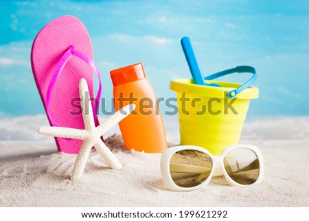 Sunny summer collection of beach items