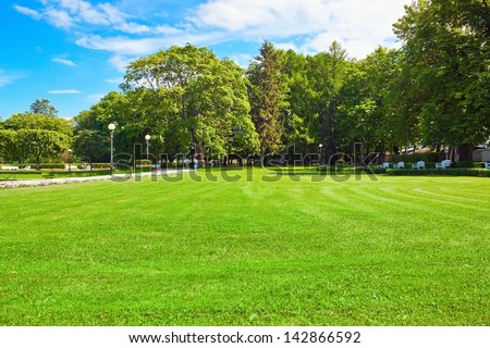 Sunny summer park - stock photo
