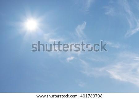 Sunny summer with sky blue - stock photo