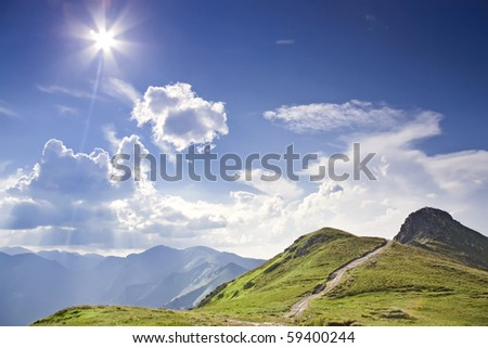 Sunny tatras - high mountain in Europe. - stock photo