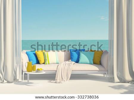 Sunny terrace, juice and lemons - stock photo