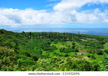 Sunny valley with an ocean scenic view on maui island, hawaii - stock photo