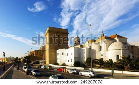 Sunny view of old Cathedral and  embankment. Cadiz, Spain   - stock photo