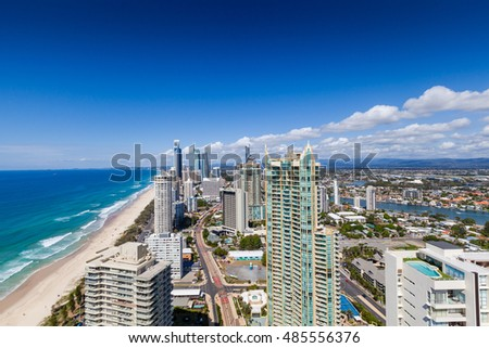 Sunny view of Surfers Paradise, Gold Coast