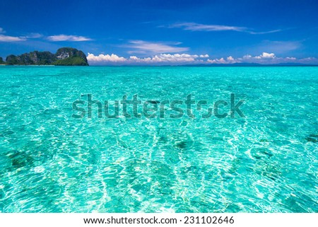 Sunny Waters Nature And Nobody  - stock photo