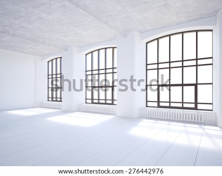 Sunny white loft with big windows. 3D rendering - stock photo