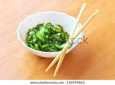 Sunomono. Japanese Cucumber Salad - stock photo