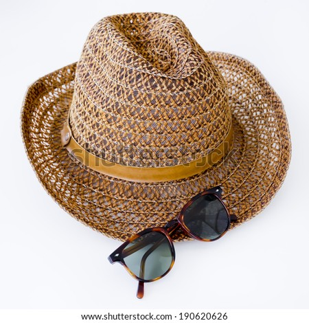 sunprotection objects sunglasses and hat - stock photo