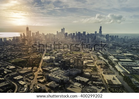 Sunrise above city of Chicago aerial view , vintage colors - stock photo