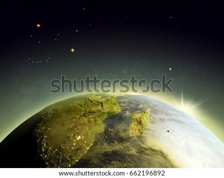 Sunrise above South Africa from Earth's orbit in space. 3D illustration with detailed planet surface. Elements of this image furnished by NASA.