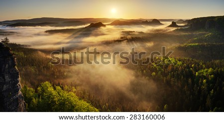 Sunrise above the deep spring valley in National park Saxon Switzerland with the fresh green color on the trees - stock photo