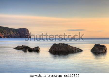 Sunrise along the Newfoundland Coast. - stock photo