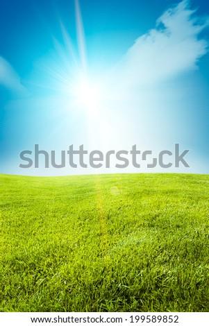 Sunrise among a green fields - stock photo