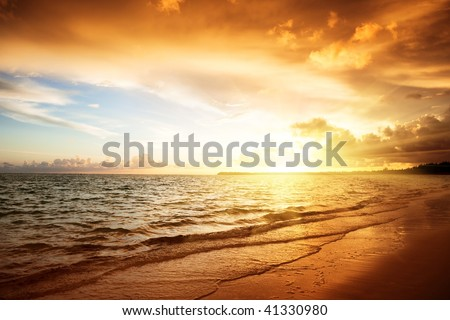 sunrise and atlantic ocean in Dominican republic - stock photo
