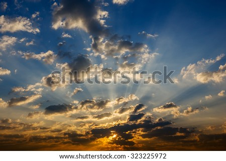sunrise and beautiful sky - stock photo
