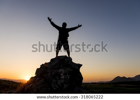 sunrise and energetic man