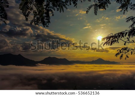 Sunrise and fog over Phu Thok Mountain at Chiang Khan ,Loei Province in Thailand.