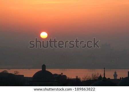 Sunrise and Golden Horn in Istanbul, Turkey - stock photo