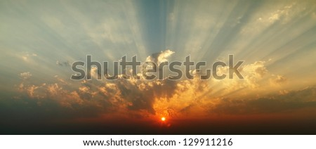 Sunrise and morning sky. - stock photo