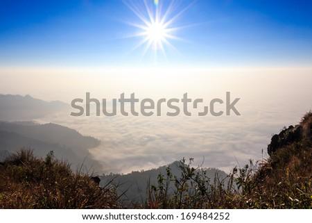 sunrise and sea of fog in morning at Phu Chi Fa ,Chiangrai ,Thailand - stock photo