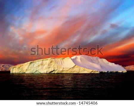 Sunrise, Antarctica - stock photo