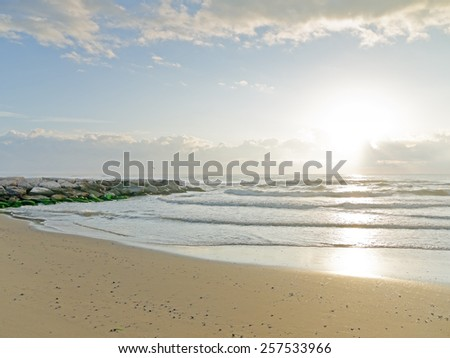Sunrise at a beach in Italy.  - stock photo