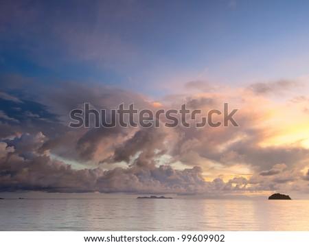 Sunrise at a tropical island Ko Lipe in Thailand - stock photo