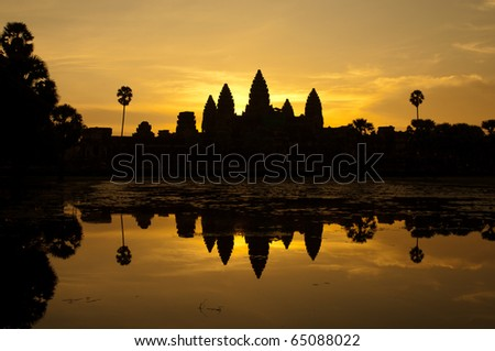 sunrise at angkor wat  temple, cambodia - stock photo