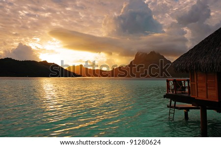 Sunrise at Bora Bora , French Polynesia , South Pacific ocean . - stock photo